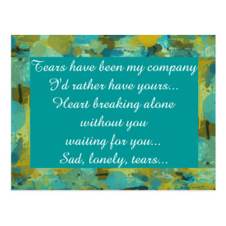 Miss Missing Sad Lonely Heart Broken Postcard
