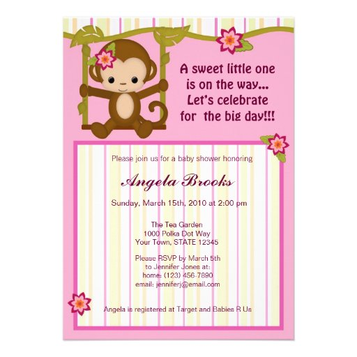 miss monkey baby shower invitations girl 5 x 7 invitation card