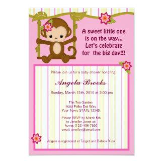 Miss Monkey Baby Shower Invitations Girl