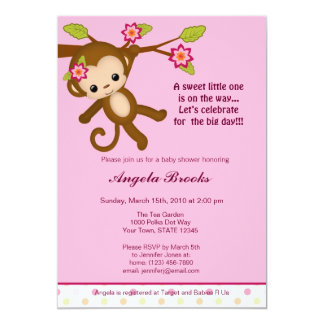"Miss Monkey Baby Shower Invitations Girl 5"" X 7"" Invitation Card"