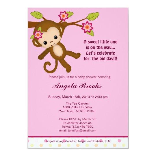 Miss Monkey Baby Shower Invitations Girl Zazzlecom