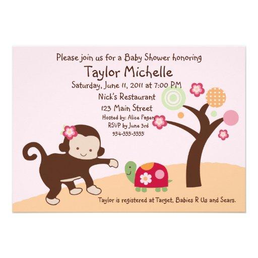 miss monkey girl baby shower invitation 5 x 7 invitation card