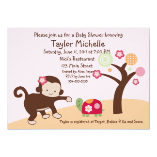 "Miss Monkey Girl Baby Shower Invitation 5"" X 7"" Invitation Card"
