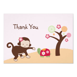"Miss Monkey Girl Thank You Card 5"" X 7"" Invitation Card"
