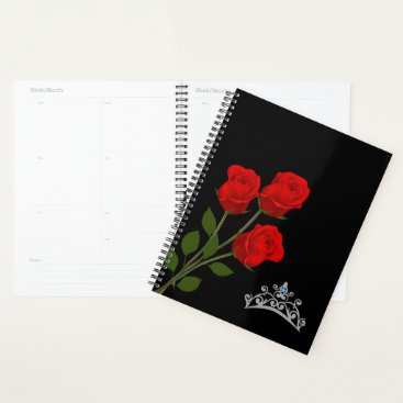 Hawaiian Themed Miss Mrs. America USA Crown & Red Roses Planner