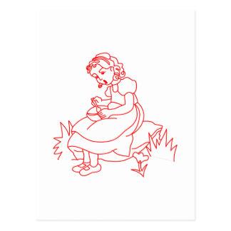 Miss Muffet Redwork Postcard