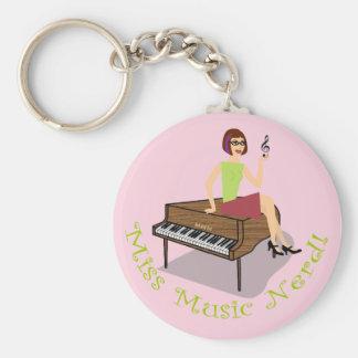 Miss Music Nerd Round Keychain