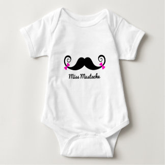 Miss Mustache design with pink bows Baby Bodysuit