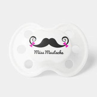 Miss Mustache design with pink bows Pacifier
