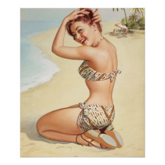 Miss Nassau, Aqua Tour series, 1947 Pin Up Art Poster