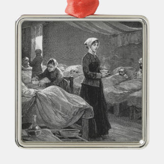 Miss Nightingale in the Barrack Hospital Square Metal Christmas Ornament