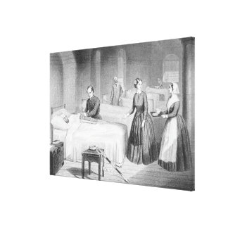 Miss Nightingale in the Hospital at Scutari, engra Canvas Print