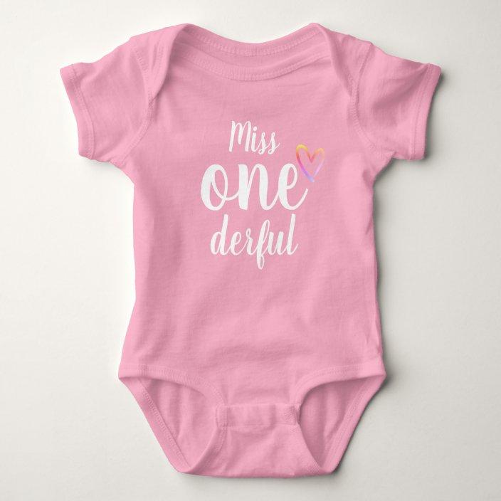 Baby Girls Miss ONE derful First  Birthday Embroidered T Shirt
