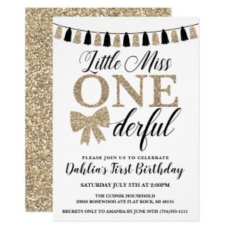 Miss Onederful Birthday Invite, Black and Gold Invitation