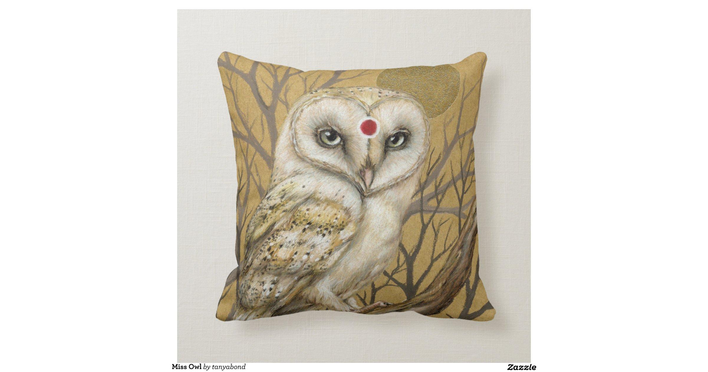 Miss Owl Throw Pillow Zazzle