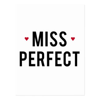 Miss Perfect text design with red hearts Postcard
