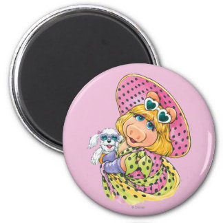 Miss Piggy Holding Puppy 2 Inch Round Magnet