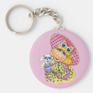 Miss Piggy Holding Puppy Keychain