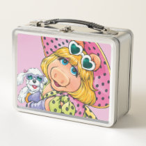 Miss Piggy Holding Puppy Metal Lunch Box