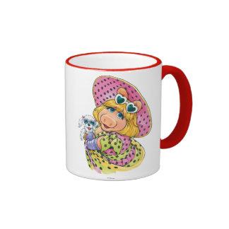 Miss Piggy Holding Puppy Ringer Coffee Mug
