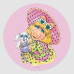Miss Piggy Holding Puppy Round Sticker