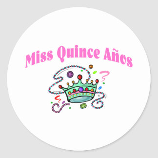 Miss Quince Anos Classic Round Sticker