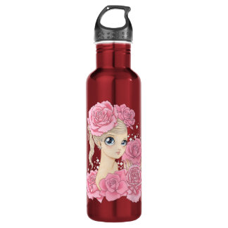 Miss Rose (pink/red) Stainless Steel Water Bottle