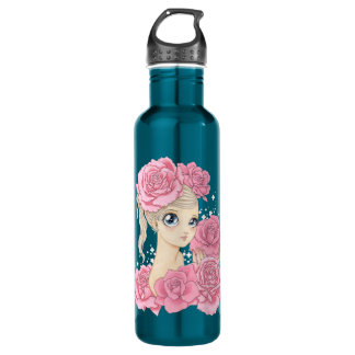 Miss Rose (pink / turquoise) Water Bottle