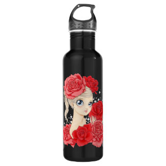 Miss Rose (red/black) Stainless Steel Water Bottle