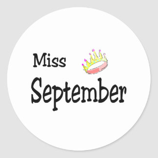 Miss September Classic Round Sticker