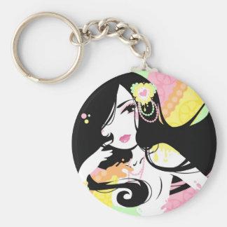 Miss Sherbet Basic Round Button Keychain