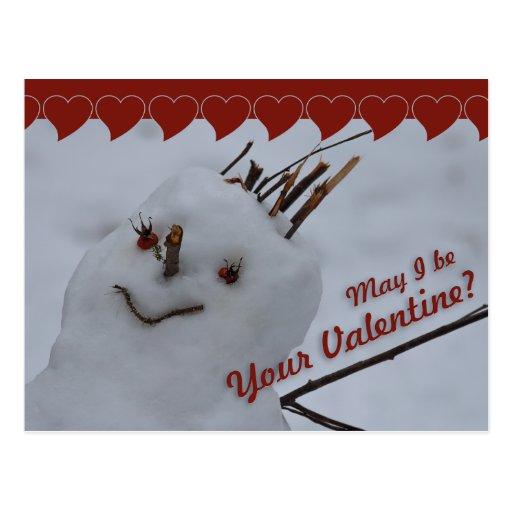 Miss Snowman CC0378 Valentine Postcard