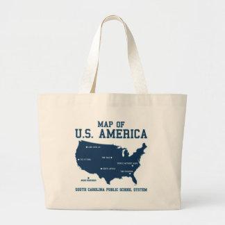 Miss South Carolina Map of US America Large Tote Bag