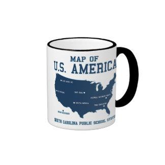 Miss South Carolina Map of US America Mugs
