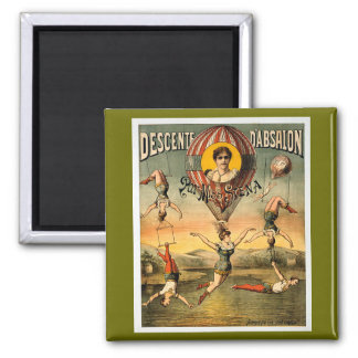 Miss Stena Flying Trapese Vintage Circus Poster 2 Inch Square Magnet
