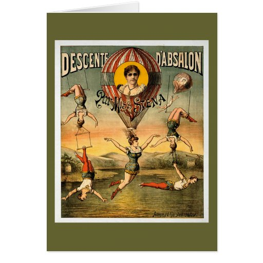 Miss Stena Flying Trapese Vintage Circus Poster Card