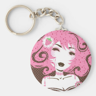 Miss Strawberry Swirl Basic Round Button Keychain