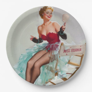 Miss Sylvania Pin-Up Girl Paper Plate
