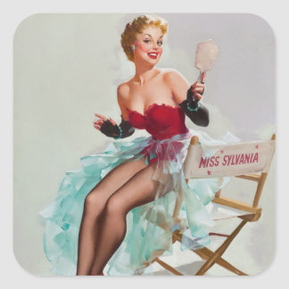 Miss Sylvania Pin-Up Girl Square Sticker