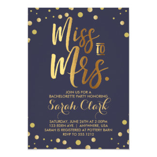 Miss to Mrs. Bachelorette Party Invitation