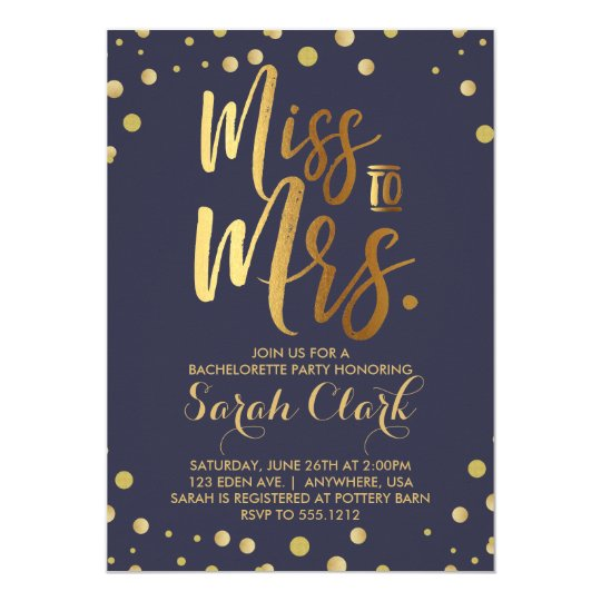 Miss To Mrs Bachelorette Party Invitation