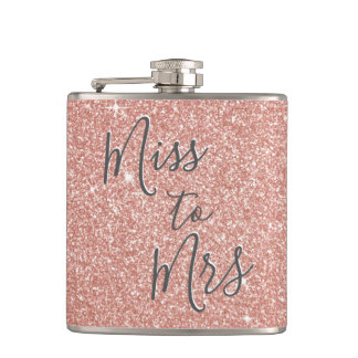 Miss to Mrs Bridal Shower Party Rose Gold Glitter Flask
