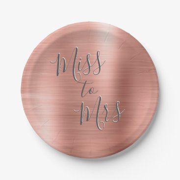Bride Themed Miss to Mrs Bridal Shower Party Rose Gold Pink Paper Plate