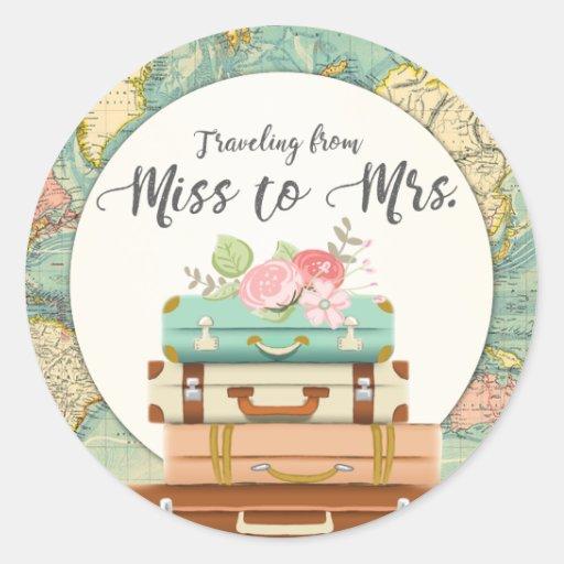 Miss to Mrs Bridal Shower Sticker Envelope Seal
