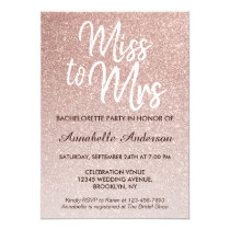 Miss to Mrs Glam Pink Rose Gold Bachelorette Party Invitation
