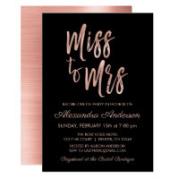 Miss to Mrs Pink Rose Gold Bachelorette Party Invitation