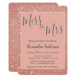 Miss to Mrs Rose Gold Glitter Bridal Shower Card