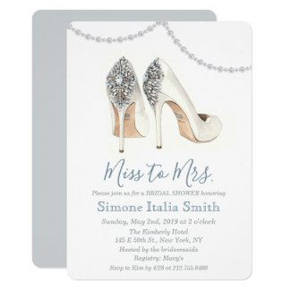 Miss to Mrs. Shoe Bridal Shower Invitation