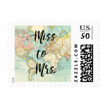 Miss to Mrs Stamp Travel Bridal shower World map