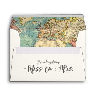 Miss to Mrs Travel Bridal Shower Envelope World
